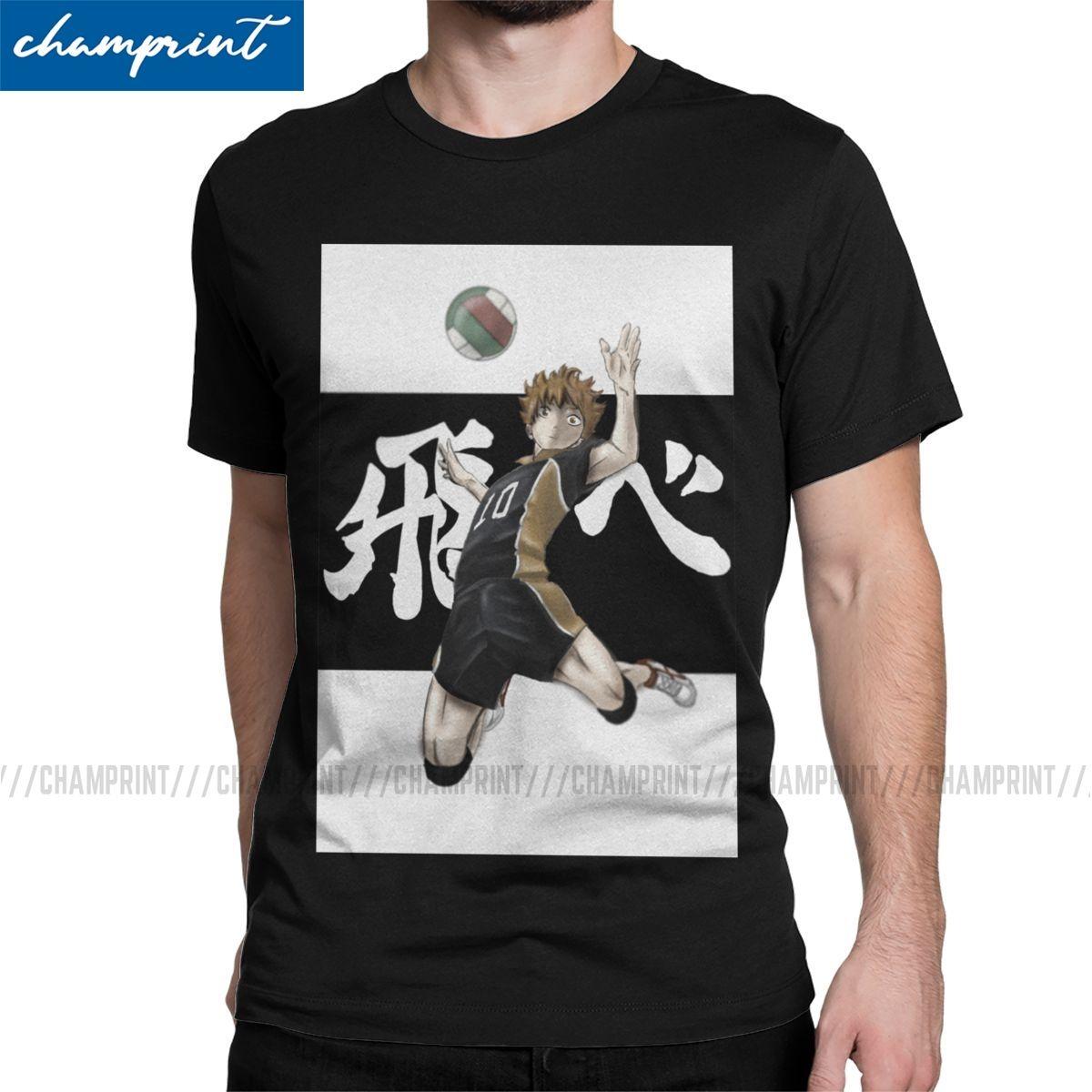 Haikyuu !! Hinata Anime Männer-T-Shirt Bokuto Volleyball Manga Humorous Tees Kurzarmshirt mit runden Ausschnitt T-Shirt Cotton 6XL Tops