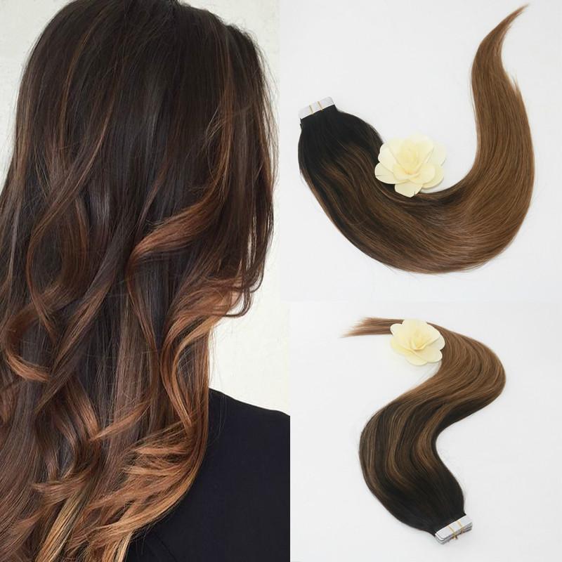 Evermagic 20pcs / 50g de la cinta en las extensiones del pelo humano del color Balayage # 2 a # 8 Fading 100% de Remy el 100% del pelo humano recto cabeza completa
