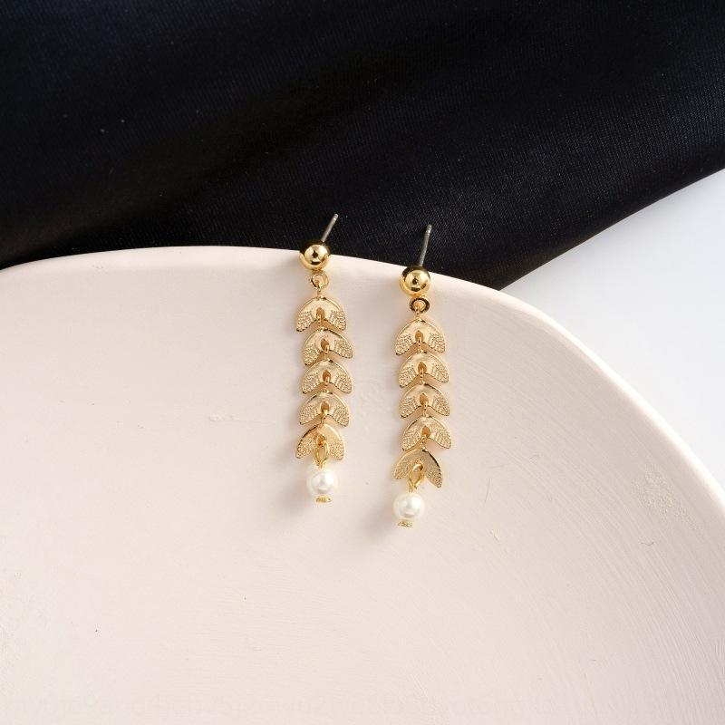KEbbs 925 progettazione ago senso Mori Pearl grano e di perle orecchio orecchini stile pastorale orecchini dolce foglia fresca nappa