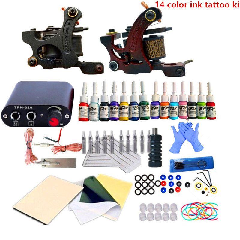Tattoo Kit 2 Coils Guns Machine Set 14 Colors Tattoo Ink Sets Power Supply Beginner Tattoo Kits