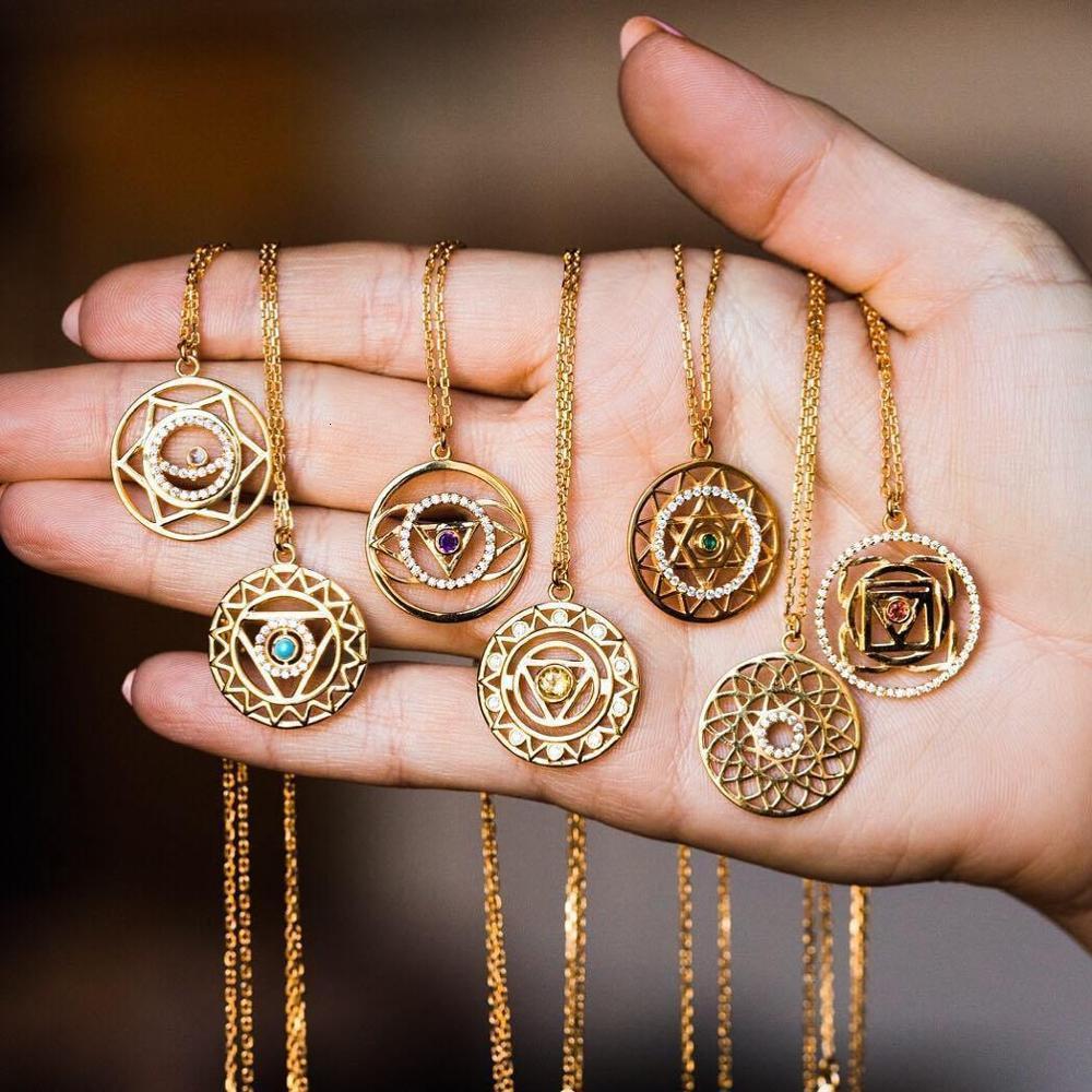 Amaiyllis Mode Empfindliche Lange 7 Anhänger Healing Edelstein Chakra Steine Halsketten-Geschenk für Liebhaber Schmuck
