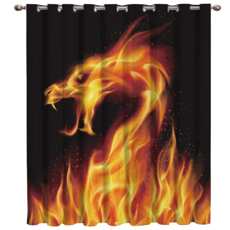 Fogo Janela Dragão cortinas escuras cortinas da janela Sala de Banho Cortinas decoração do quarto Painéis Cozinha Ganhos cortina de crianças