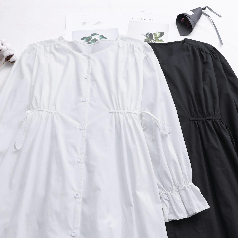 gBQfe 010851 nouveau Nouveau style coréen minceur Xiaoqing de style automne rond lacets 5QRsj mode robe femmes robe taille cou simple boutonnage