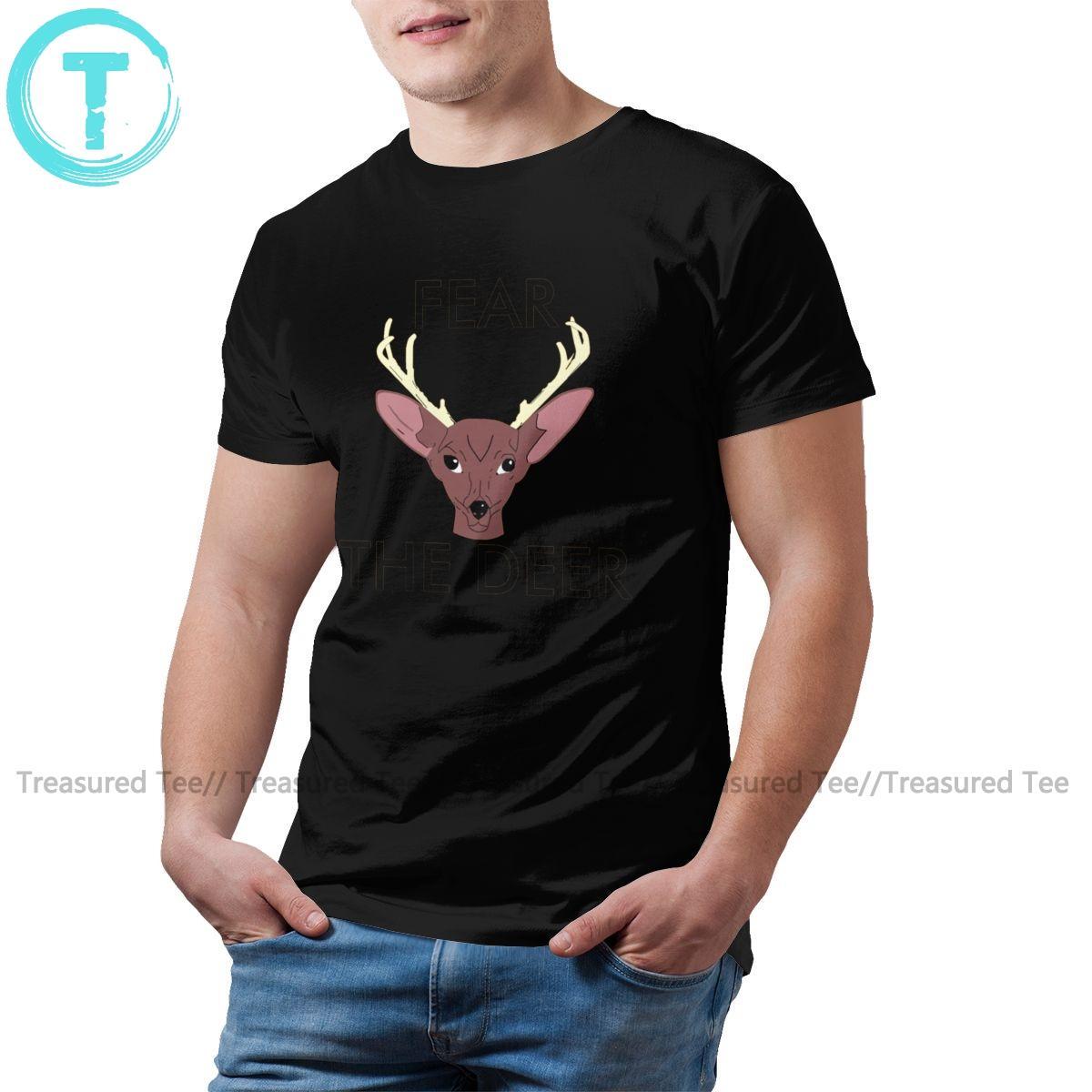 Deer Head maglietta Fear The Deer T-Shirt Mens Cotton Tee Shirt 5XL Streetwear Impressionante Stampa manica corta maglietta
