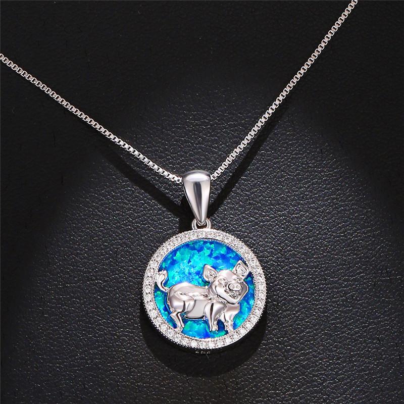 Collar de la boda de moda femenina de los colgantes del cerdo clásico color blanco de plata redondo azul de piedra del ópalo collares para las mujeres