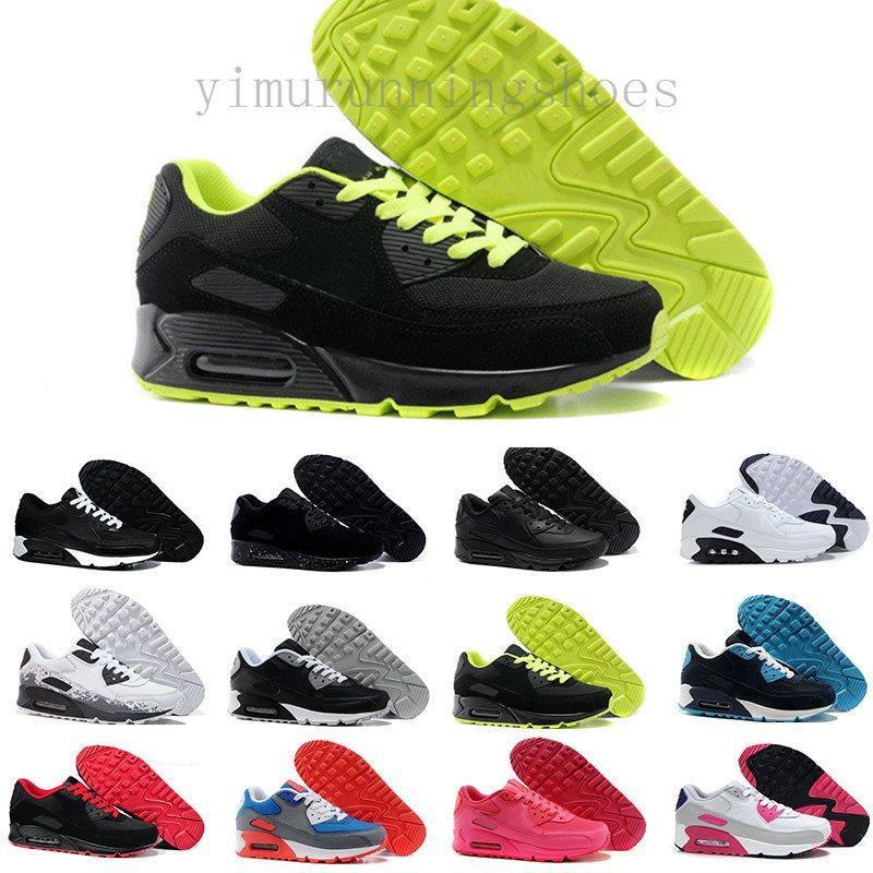 جديد 90 رجل إمرأة الاحذية الكلاسيكية 90 كن حقيقي عارضة الأحذية السوداء الأبيض الرياضة المدرب الهواء الهواء وسادة سطح تنفس الأحذية الرياضية
