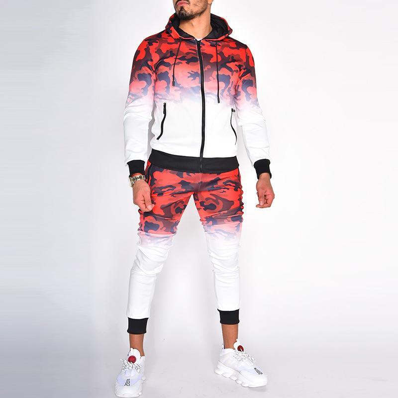 Homens Tracksuits 2020 Moda Outono New Homens Camuflagem Imprimir Esporte Suits Casual homens encapuzados Treino 3 cores Asiático Tamanho M-3XL