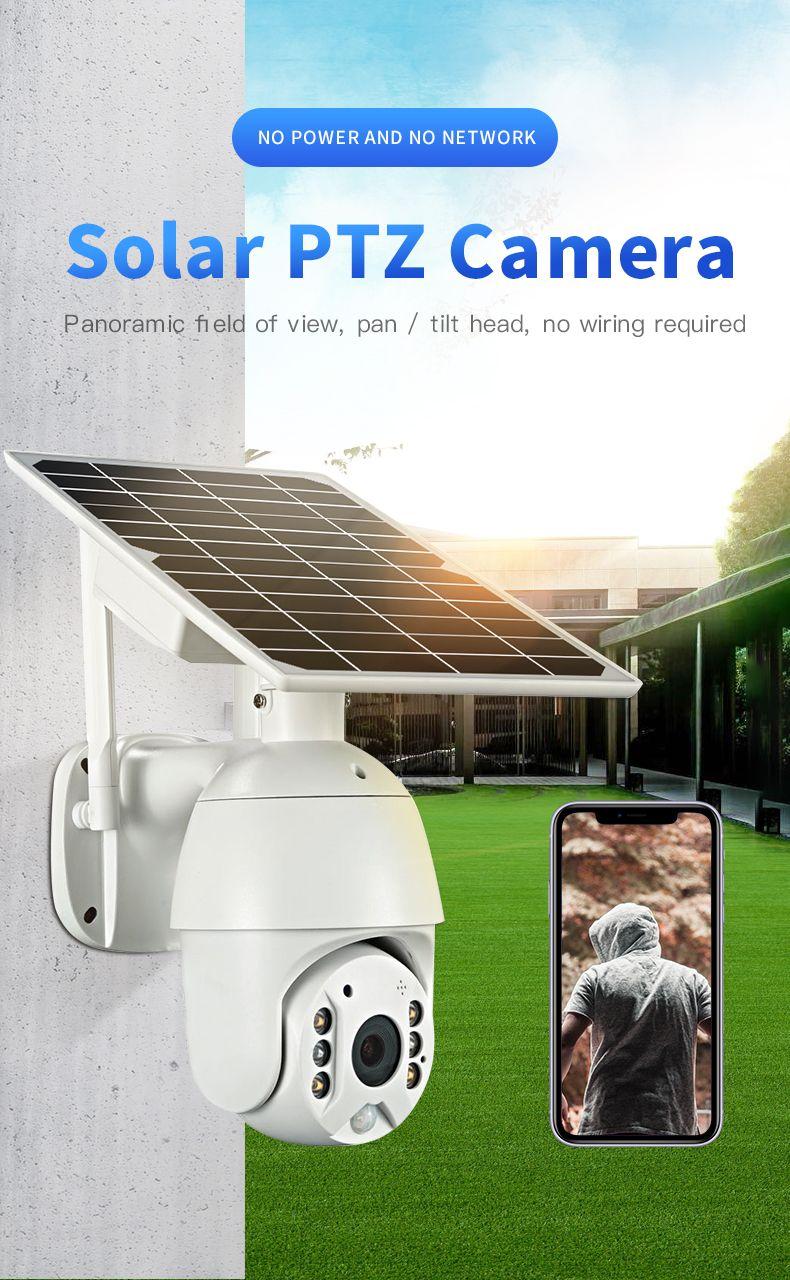 1080P HD 무선 태양 전지 전원 4G 카메라 방수 야외 감시 CCTV 4G SIM IP 카메라 비디오 녹화