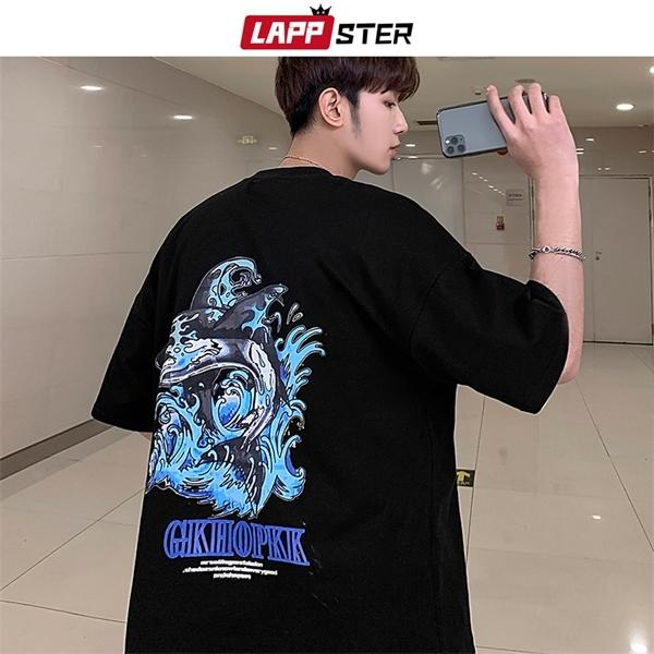 LAPPSTER Men Japanese Streetwear Tshirts 2020 Summer Mens Oversized O-Neck T Shirt Male Black Casual Korean Hip Hop Tees Clothes 0924