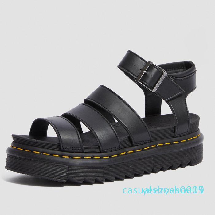 Роскошный дизайнер гладиаторские сандалии женщин черный лето причинная удобный натуральная кожа пряжка др мартин сандалии платформы размер 35-40 Y15 Y15