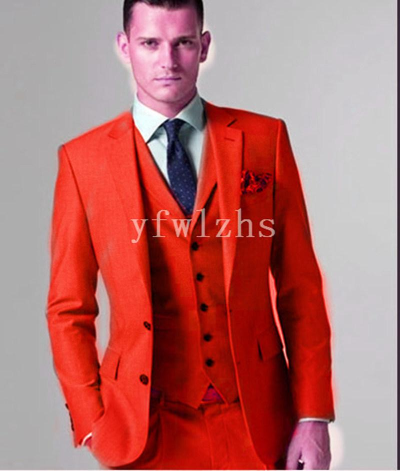 Красивая Две кнопки Groomsmen Нотч Groom смокинги мужского Свадебное платье Люди куртка Blazer Пром Dinner костюмы (куртка + штаны + Tie + Vest) W306