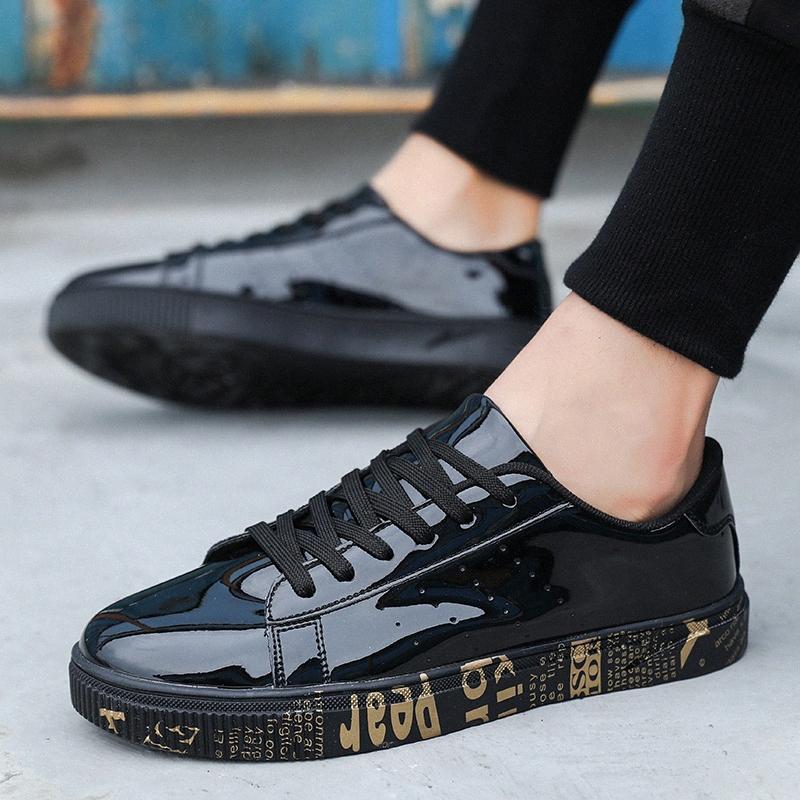 Erkekler Altın Parlak Graffiti Günlük Ayakkabılar Erkek Çift Açık Eğitmenler Sneakers Man Büyük Boyutu 47 8Cof # İçin Yeni Patent Deri Ayakkabı