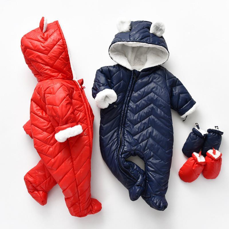 Boy Girl Inverno roupa do bebê Thicken Além disso Velvet Zipper com capuz de algodão Romper Frio Protecção Quente bebê recém-nascido Sólidos Robe 0917