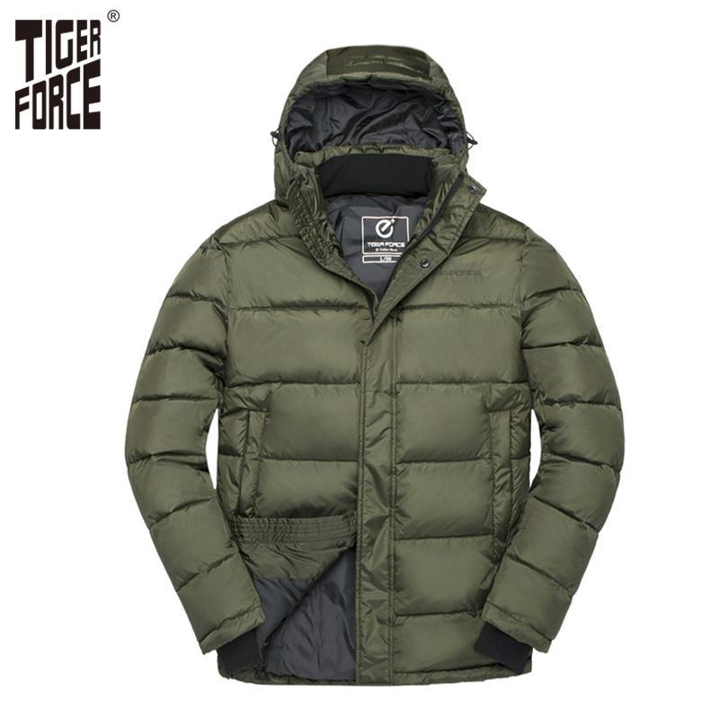 TIGER FORCE-Winter-Männer Jacke Männlich Padded Mantel Herren Parka Frühling Herbst warme Jacken-Mann-beiläufige mit Kapuze Jacken-Oberbekleidung T200910