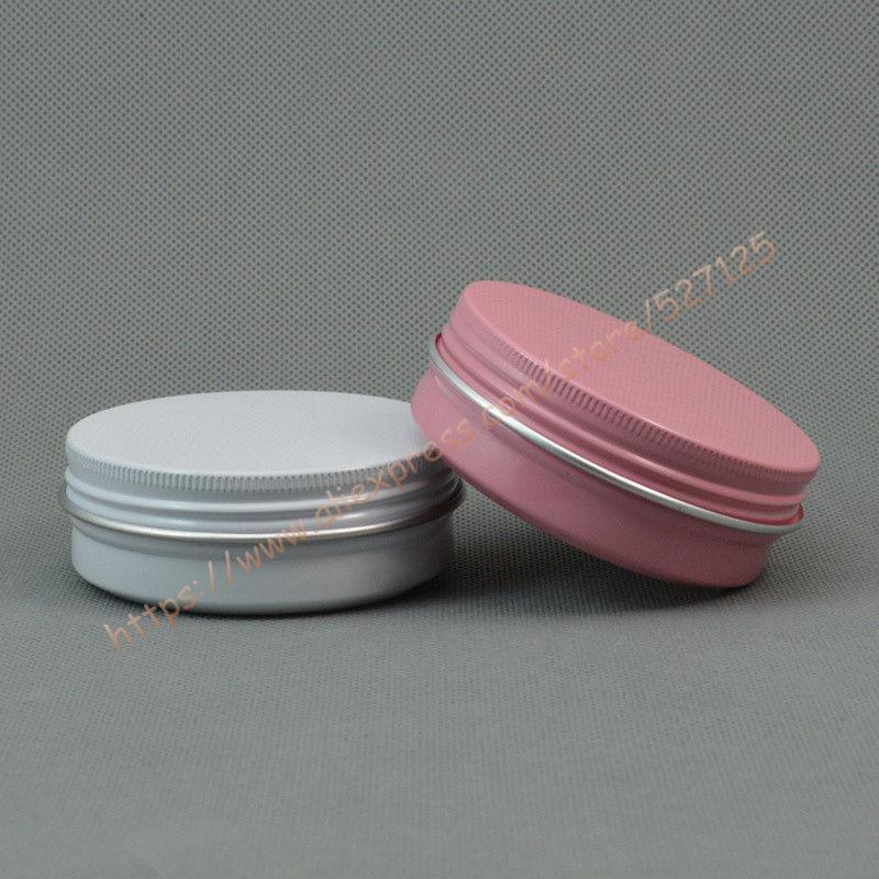 60g blanco / rosa tarro de aluminio / estaño / lata con estaño lid.Aromatherapy de aluminio, 60 ml frasco de aluminio cosmética, para la crema / velas / almacenamiento de alimentos