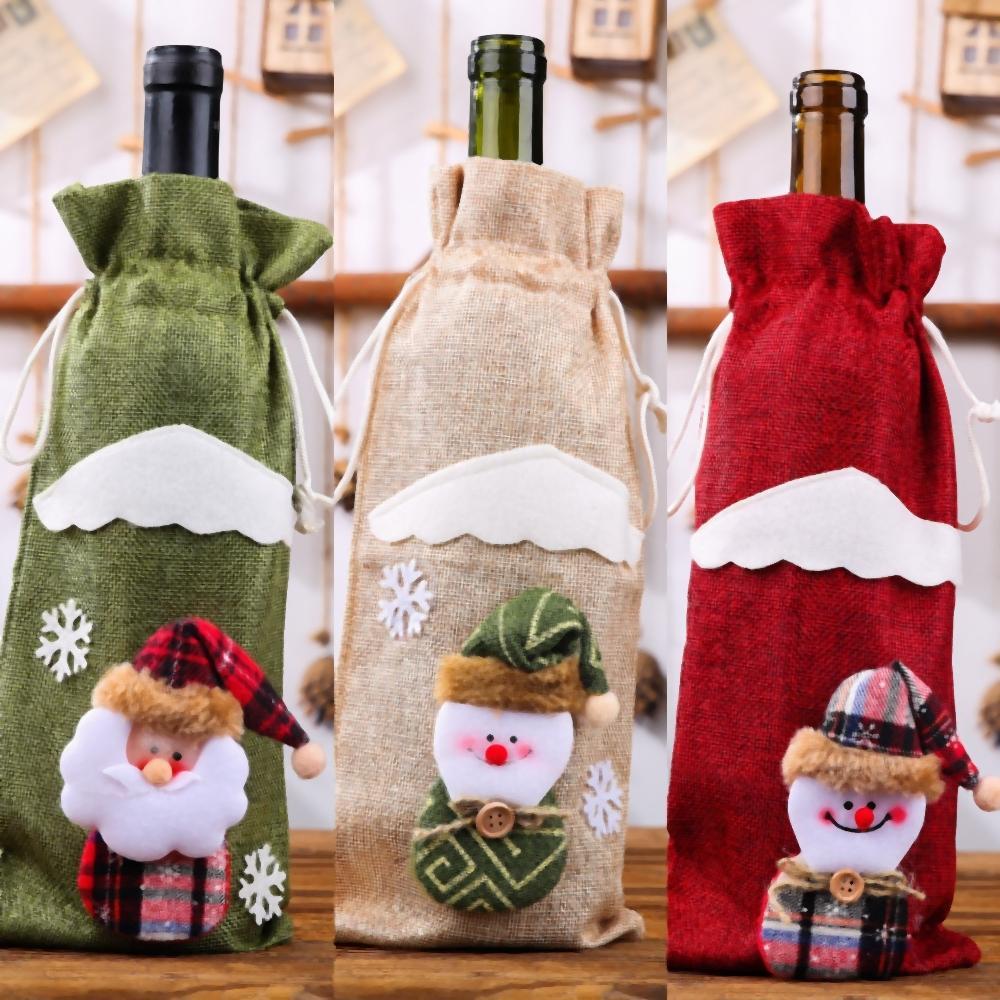 FygXD мешок подарка вина набор Отели Санта украшения Sack Drawstring мешок Санта-Сакс Monogrammable Санта-Клаус оленей DecorationsStyles Рождество B