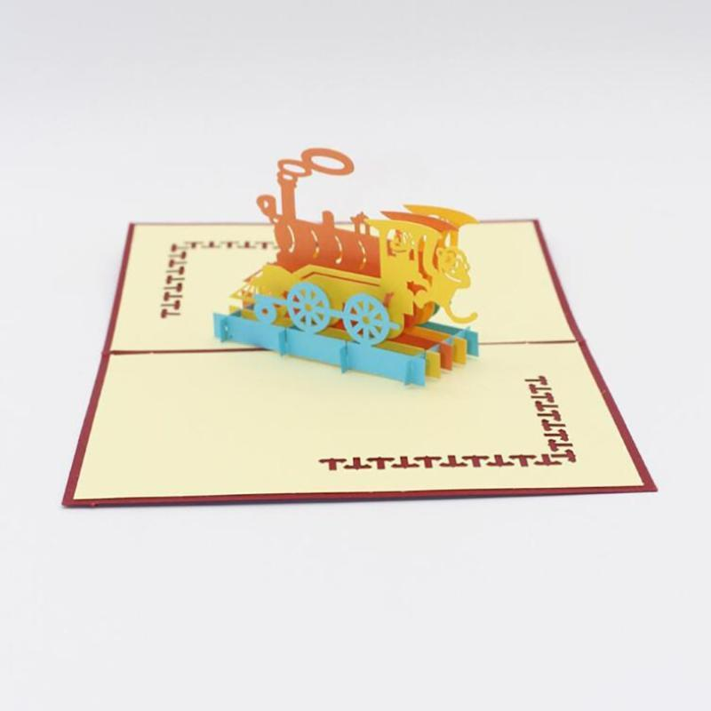 Happiness Train 3D UP Cards Gift Postcard With Envelope Stickers Wedding Invitation Greeting Card Anniversary Card Wenskaart