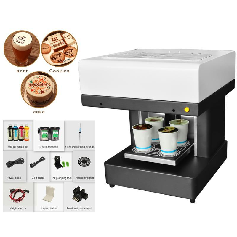Coffee Macaroon Candies Printer 4 Cup Automatic Cake Printer Custom Cake for Cappuccino Biscuits Printing Machine