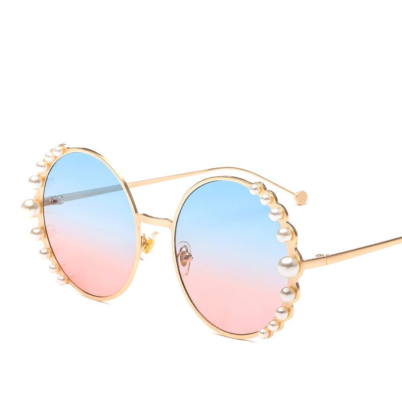 Perles de luxe Ronde Mode Femmes Shapes Sunglasses Soleil Soleil Cadre Oculos perles Alliage Designer Verres 2020 Femme Noir pour marque RJOGQ