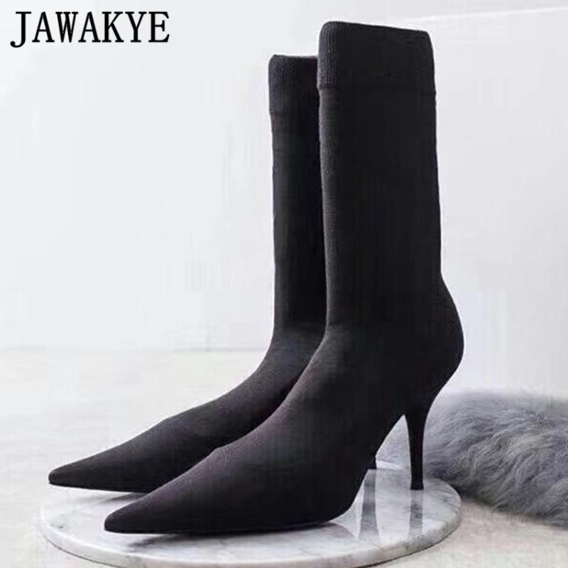 Los nuevos tacones altos de punto calcetín puntiagudos botas mujer botas con punta de tobillo Negro zapatos calcetín mujer zapatos de tacón alto del invierno Mujer del partido