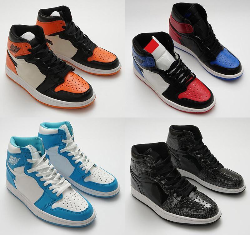 Высокая Qaulity Jumpman 1 Top 3 Дети Gold Toe Pass Факел Привет Подумайте, белый Баскетбол обувь мужская 1S UNC Спортивные кроссовки