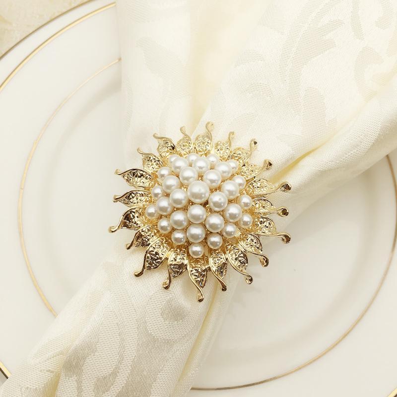 отель 6PCS набор стол жемчужного подсолнечника салфетка кольцо цветок рот кольцо салфетка пряжка