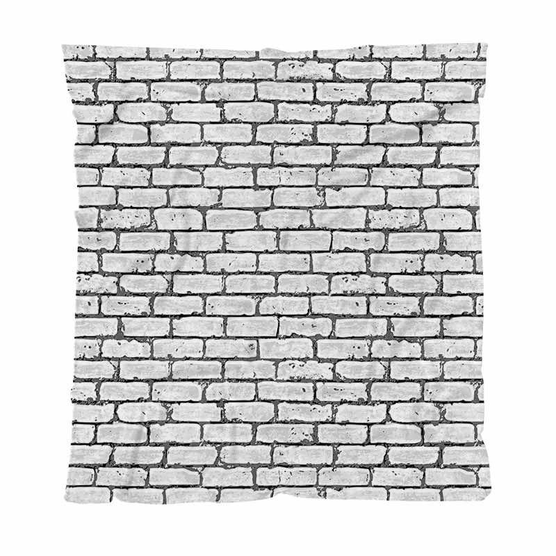 Warm Sfondo flanella Coperte Coperte solido morbido grigio e bianco muro di mattoni urbano comodi molli Coperta multifunzionale