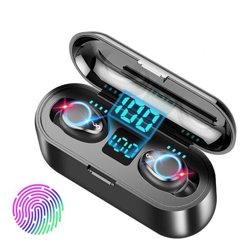 F9 Tws sem fio Fones de ouvido Digital Display Led Bluetooth V5 0,0 auriculares Bluetooth Headphone Com 2000mAh Tomada de carregamento Auricular Com Mic