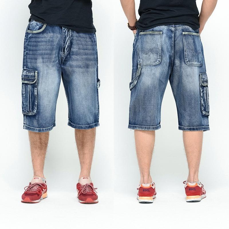 NEW Men Loose Jeans HIP HOP Skateboard short Jeans Men's Fashion trousers Size 30-46 Big pockets 200924