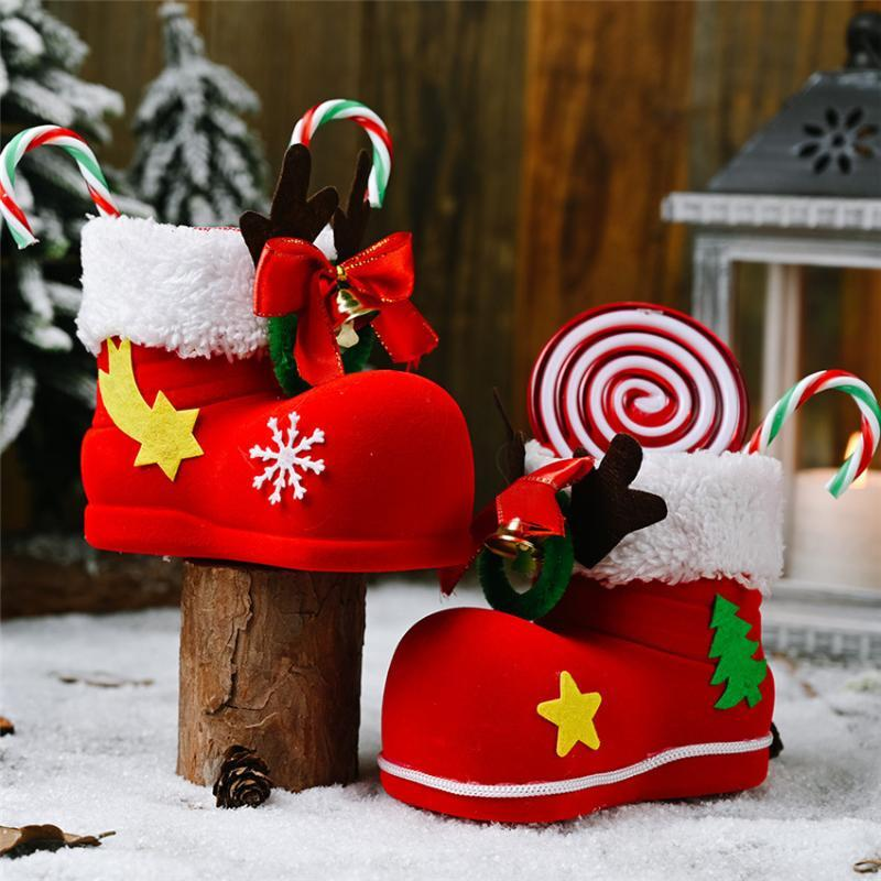 3 style Christmas Candy Gift Boots Holder Home Party Decor Christmas Santa Candy Boots Box Kids Child Gift Xmas Tree Decorations