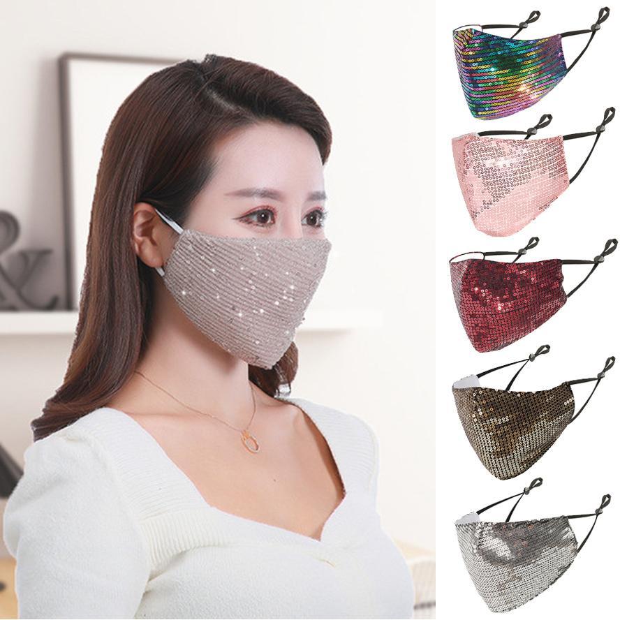 DHL Face Masque Designer Fashion Sequins Bling 3D Masques réutilisables lavables PM2.5 Bouclier de soins Sun Coude d'or