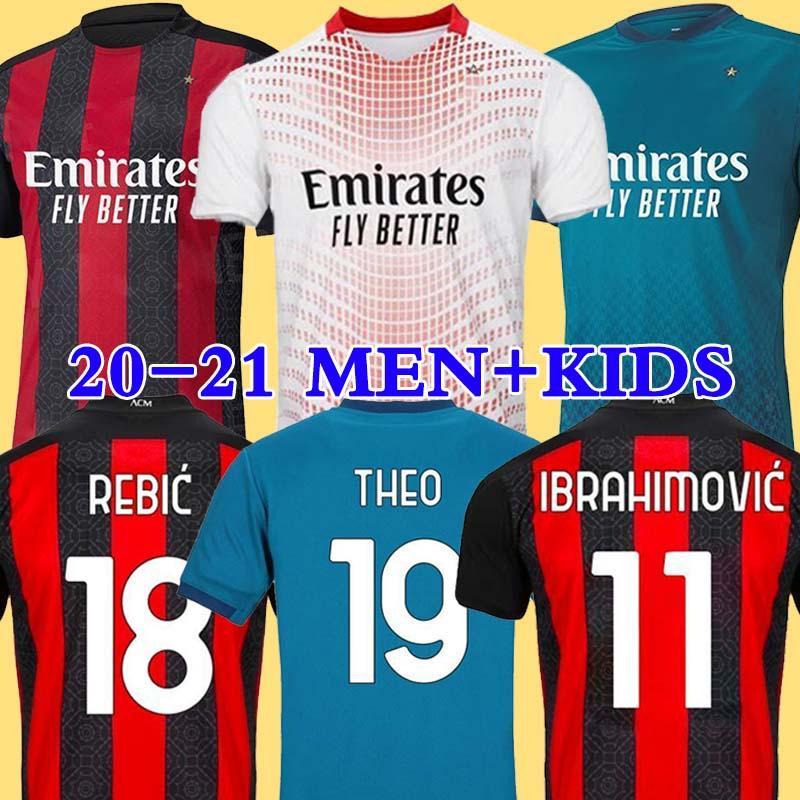 2020 AC Milan Ibrahimovic jérsei de futebol homem crianças kit 120º aniversário Rebic Bennacer THEO TONALI camisa de futebol Camisa AC Milan 20/21