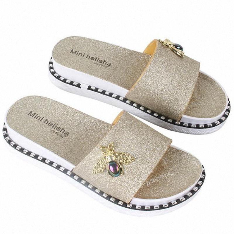 Kadınlar Yaz Terlik Arı Moda Platformu Bling Terlikler Flats Plaj Lady Günlük Ayakkabılar Açık Ayakkabı Sandal Zapatos Mujer pKSB #