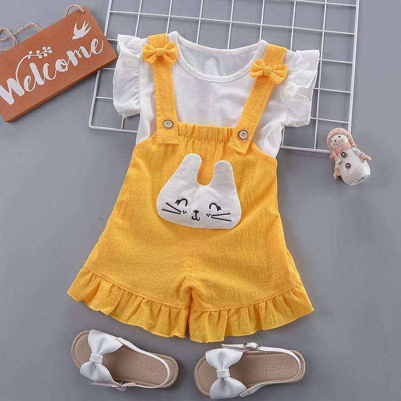 Bambino insiemi dei vestiti delle ragazze di estate del cotone neonato t-shirt + shorts 2pcs complessivi tute per le ragazze del bambino attrezzatura di modo 2020