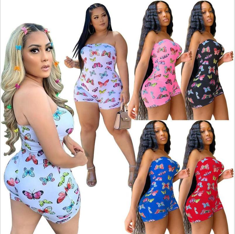 Sexy Plus Size Butterfly Print Rompers Women Jumpsuit Biker Shorts Summer One Piece Outfit Off Shoulder Bodycon Overall Playsuit
