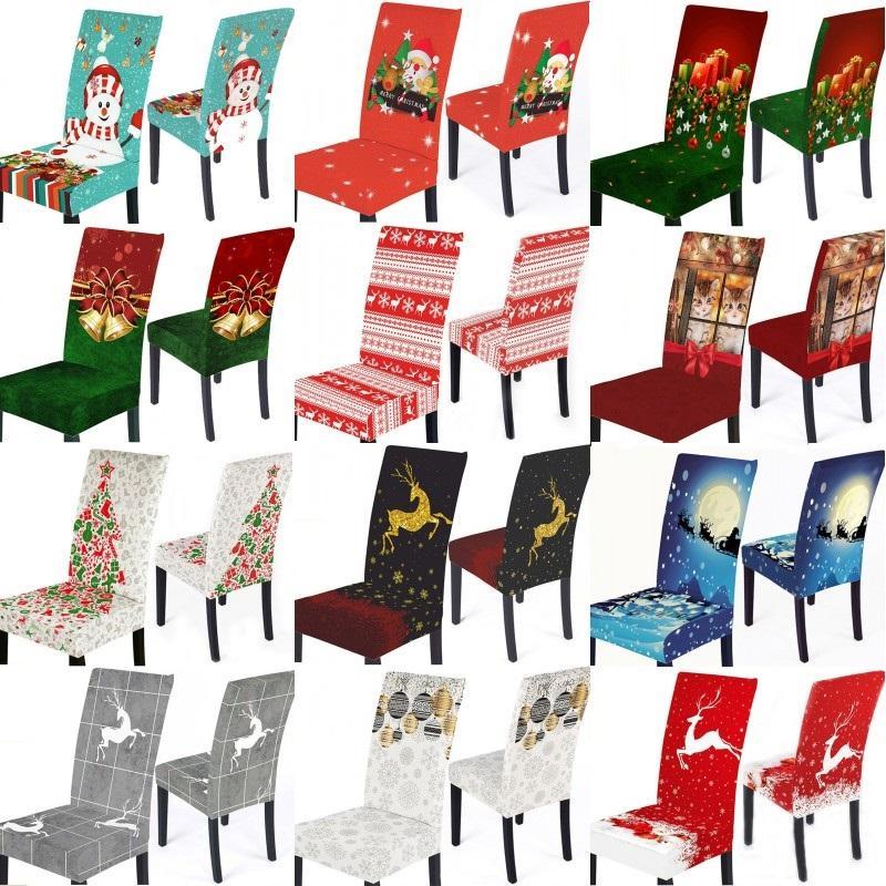 Natale Stretch copertura della sedia Merry Xmas elastico Sedia da pranzo in camera rivestimenti dei sedili della sedia dello Spandex Decorazione natalizia