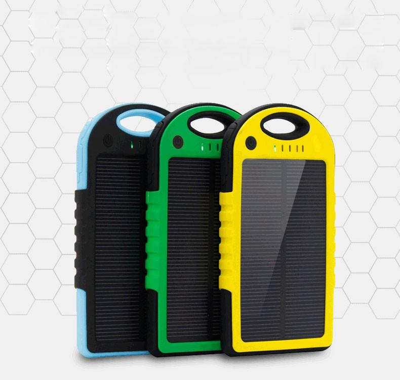 Power Bank Universal 5000mAh Solar Charger Waterproof Solar Panel Battery Chargers for Smart Phone PAD Tablets Camera Mobile Power Banks