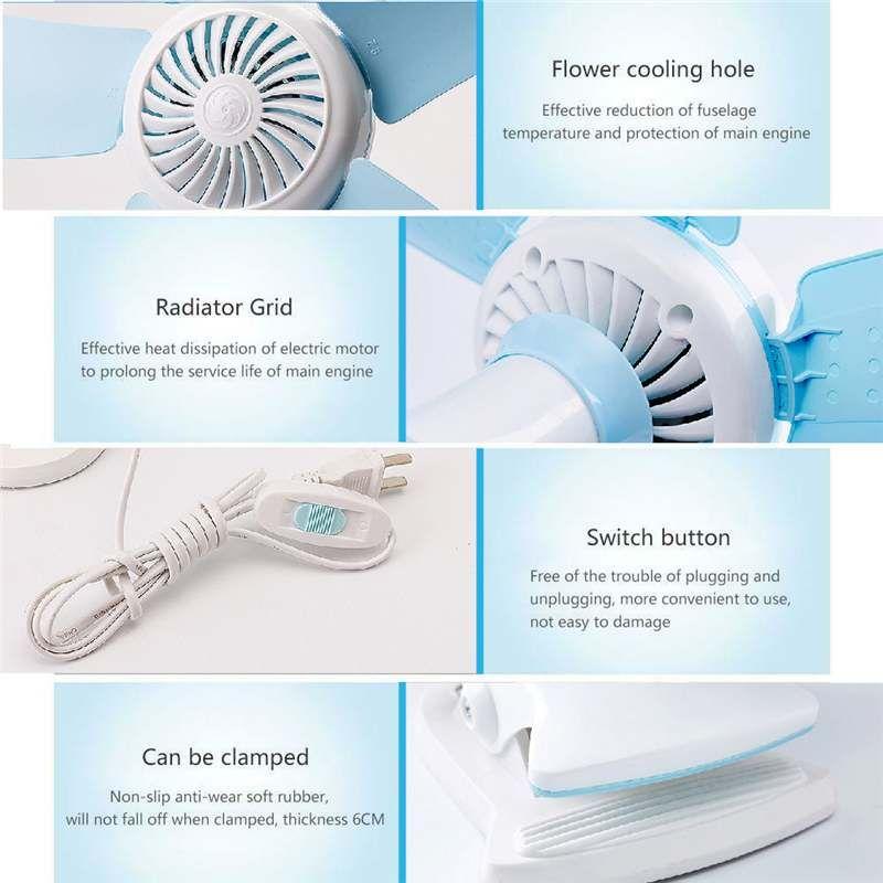 Vente chaude 7 / 8W multifonctions Ventilateur 3in1 4/5 Feuilles Mute Tenture fans clip Porte Pliable Air Fan US / EU Plug