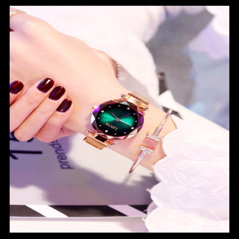 Mulheres Relógios Relógio de luxo Aço Rose Gold inoxidável minimalista Pulseira Cristal Diamante Ladies Watch Feminino Relógio
