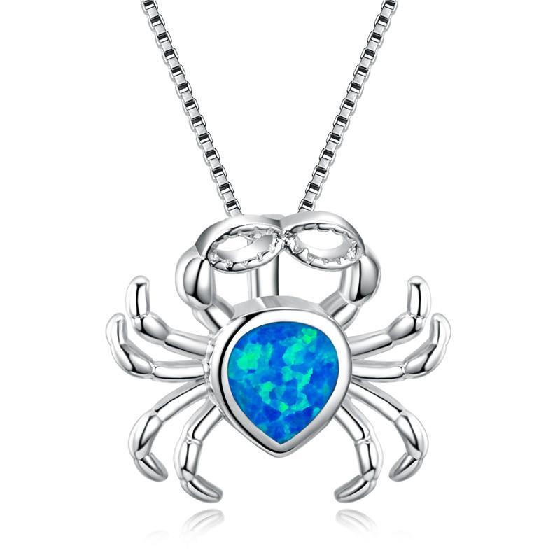 Venta de la manera Mujer cangrejo azul del ópalo de fuego 925 Collar de plata esterlina joyería llenada de los collares para las mujeres Vintage Animal