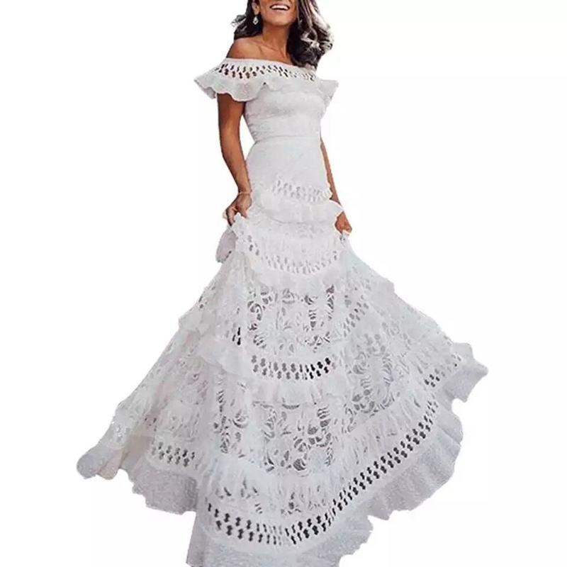 Vestidos elegantes de la playa de las vacaciones de verano de las mujeres hueco de la manera oscilación del vestido del cordón hueco dulce elegante del partido del vestido XXL