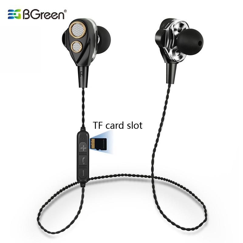 Bgreen Bluetooth senza fili di sport di sport che funziona in bicicletta auricolare con costruito nel lettore MP3 di sostegno micro TF SD Card