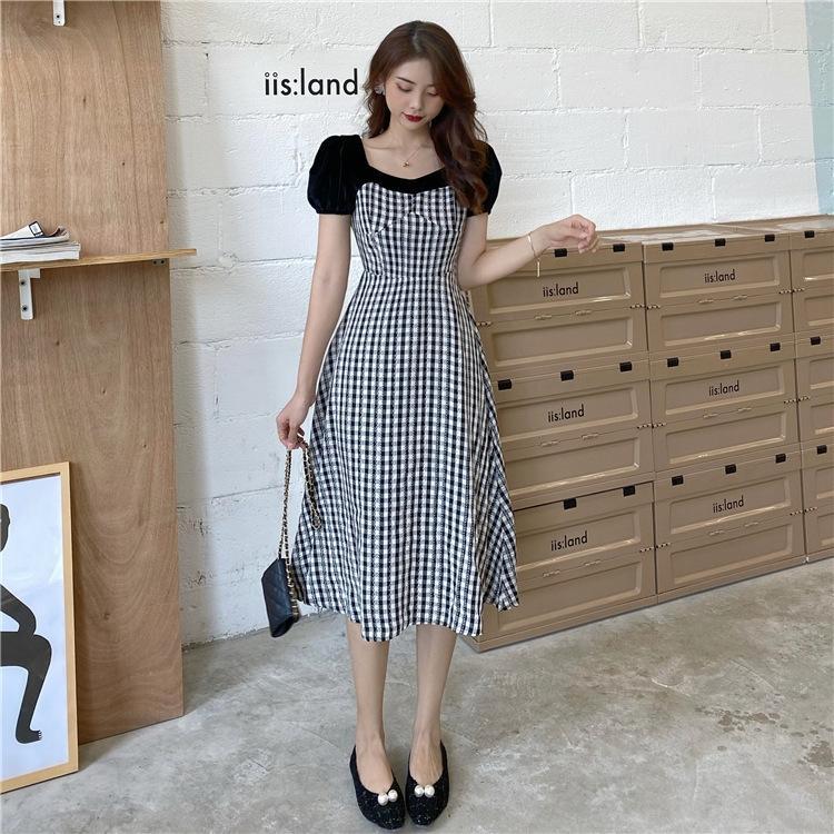 Vendita calda atPMM 2020 nuovo velluto di nicchia elegante francese vita che dimagrisce cucitura vestito dal plaid del pannello esterno per le donne estate