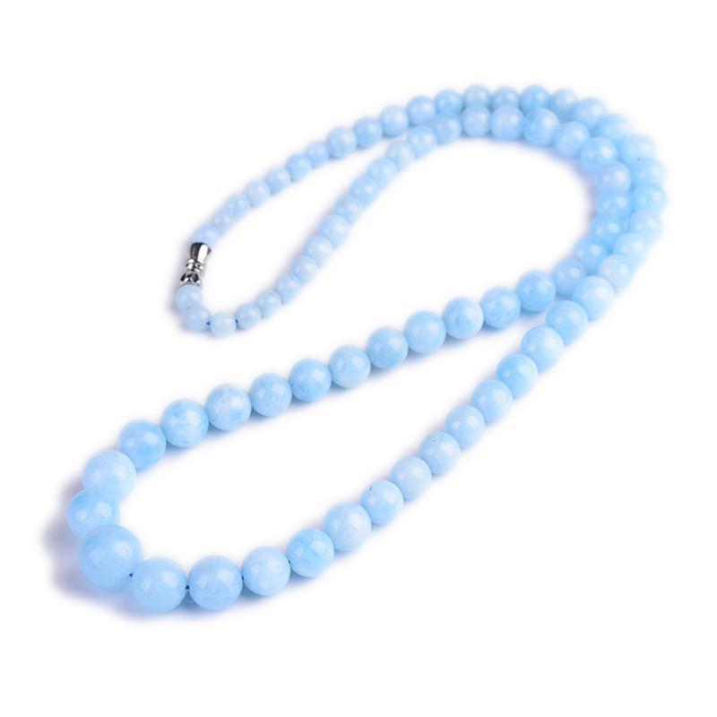 Natural Blue Aquamarine Necklace Long Chains For Women Lady Love Anniversary Gift Crystal Round Beads Jewelry 5mm-12mm