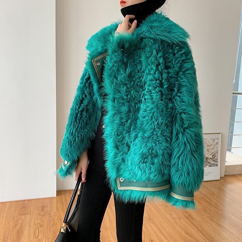 Bella philosophy Women Autumn Winter Faux Fur Coat Female lamb fur Overcoat Lady Casual Long Sleeve warm coats GREEN Outwear T200908