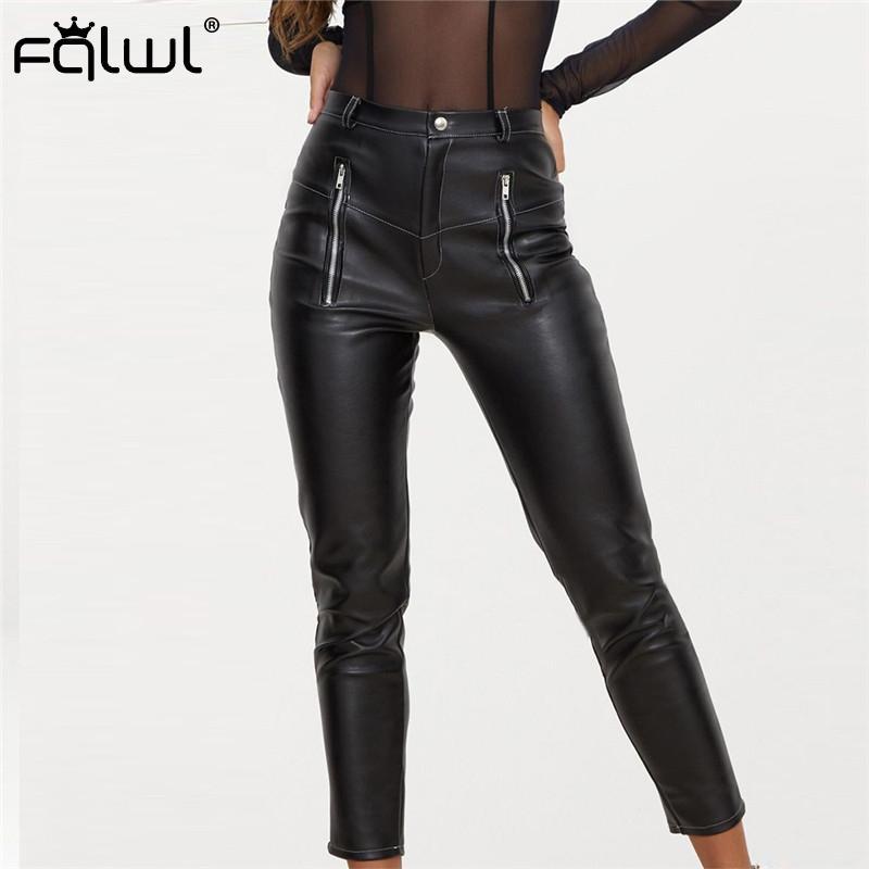 FQLWL Faux Pu couro Calças pretas Mulheres Calças de cintura alta Sexy BODYCON Cuecas Zipper Outono Inverno Ladies Skinny