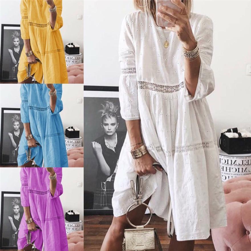 Artı Boyutu Kadın Elbiseler Panelli Oymak Nakış Seksi Elbise Rahat Katı Renk Dantel Femme Elbise Oymak