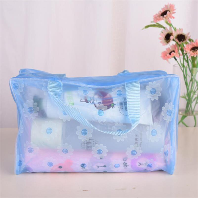 Portable Waterproof Cosmetic Bag Transparent Makeup Bag Zipper Handbag Organizer Women Travel Toiletry Bag Bath Beauty