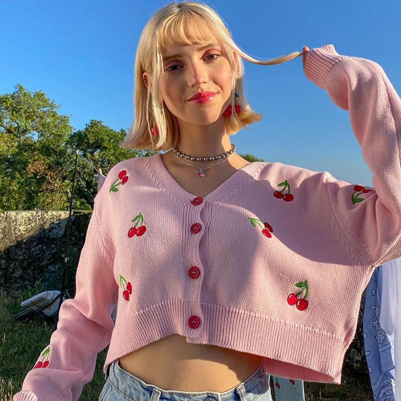 Sweet cute cherry embroidery Sweater for women Chic Knitted tops Cardigan fall winter casual wear graphic Sweater female jacket