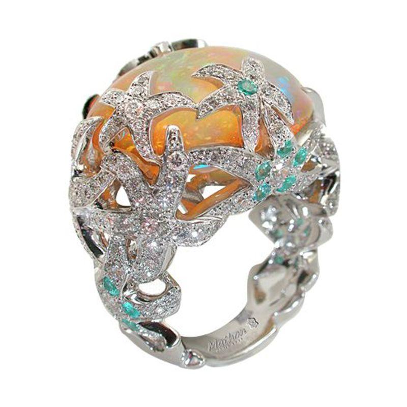 Big Stone Ring usine de résine Opal mariage Bagues de femmes Bijoux de fiançailles Femme Charm Love Bague Accessoires Anillo Mujer 40X999